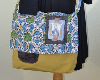 Mustard woolly and cotton wax-printed shoulder bag, designed by JoeLesBiscottos