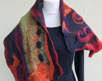 Hand felted soft merino wool shawl scarf by JoeLesBiscottos