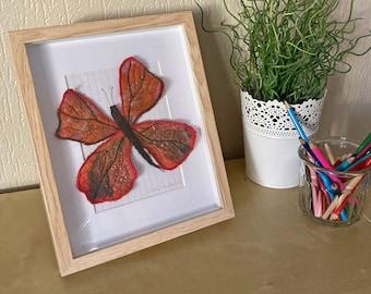 Pretty merino wool butterfly in its frame
