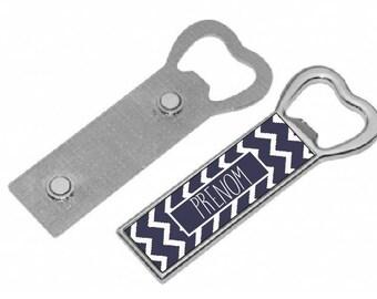"""CHEVRON Navy"" personalized magnetic bottle opener"