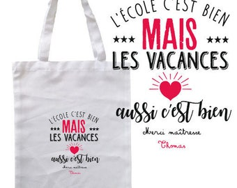 "TOTE BAG 100% cotton ""school it estg well but the holidays as it is"" personalized"