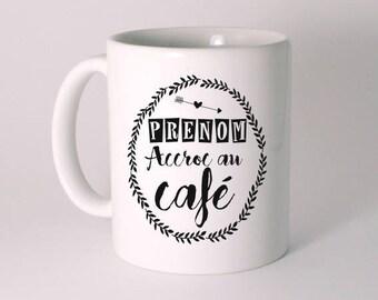 """MUG CERAMIQUE """"ACCROC AU CAFE"""" personnalisé"""