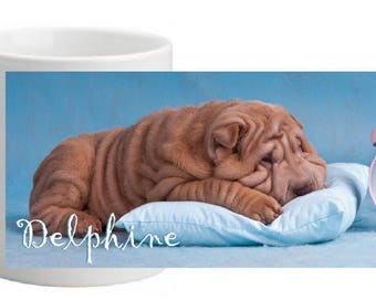 SHAR PEI CERAMIC MUG PERSONALIZED WITH THE NAME OF YOUR CHOICE