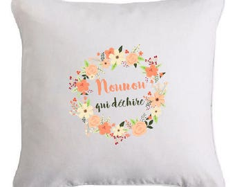 "Flower print cushion ""nanny (or other) which tears"""
