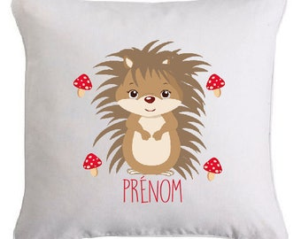 SMALL HEDGEHOG cushion personalised with the text of your choice