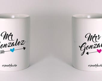 "set of 2 ceramic ""Mrs & Mrs... #pourlavie"""
