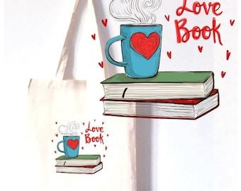 """TOTE BAG 100% COTON  """"love book"""""""