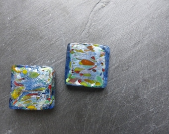 2 large glass beads with silver foil blue and multicolored 2.5 cm