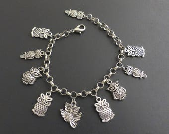 Silver bracelet charm OWL theme, owl, adjustable
