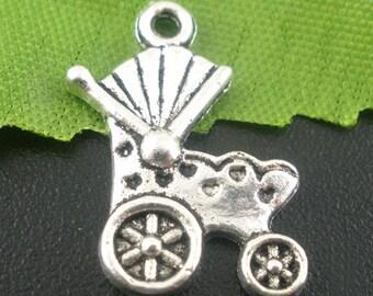 6 Silver 19x12mm pram baby stroller charm