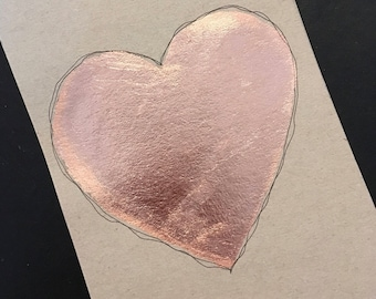 Postcard / greeting card / recycling / gilt / handmade / pink heart