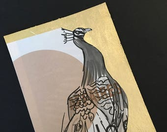 Postcard / greeting card / recycling / gilt / handmade / Peacock