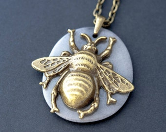 Bee Necklace Unique Gift Boho Necklace Bee Charm Necklace Simple Necklace Everyday Necklace Insect Necklace Bee Jewelry Brass Necklace