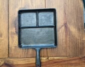 Wagner Ware bacon and eggs breakfast cast iron square skillet