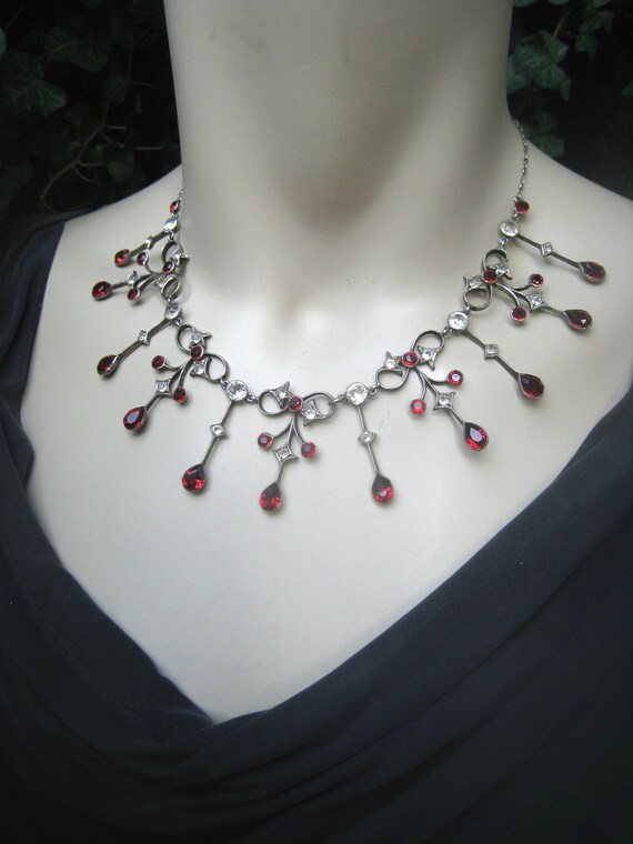 Antique silver necklace, paste, paste, collar neck