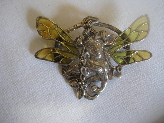 ART NOUVEAU brooch Silver 925 with window enamel