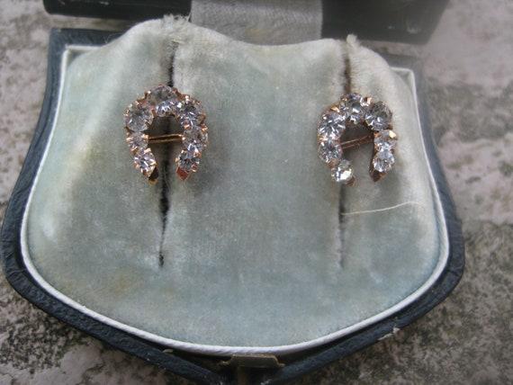Antique gold earrings with paste, paste, faux diam