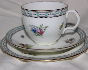 Vintage Cualdon Trio cup Saucer and Cake Plate pattern 1487