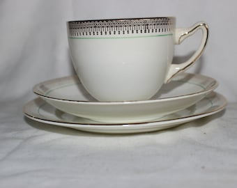Adderley teacup and saucer with cake plate trio
