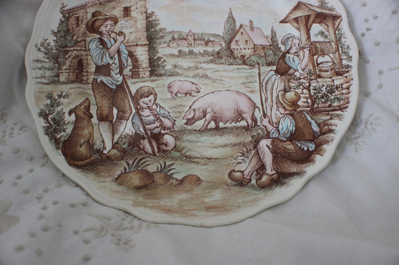 Scenes Villageoises Sarreguemines  Breton Pig Farm Decorative Plate