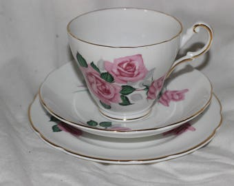 Regency English Rose Trio cup, saucer and cake plate
