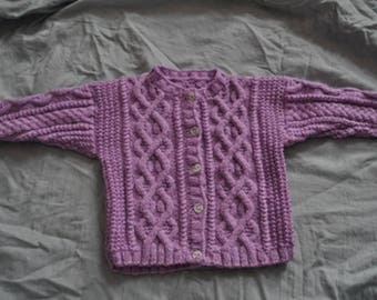 Irish 6 months jacket purple hand knitted