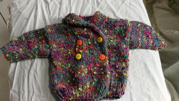 b9b250b3e8c6 Hand knitted coat 6 month grey melange multicolor neon