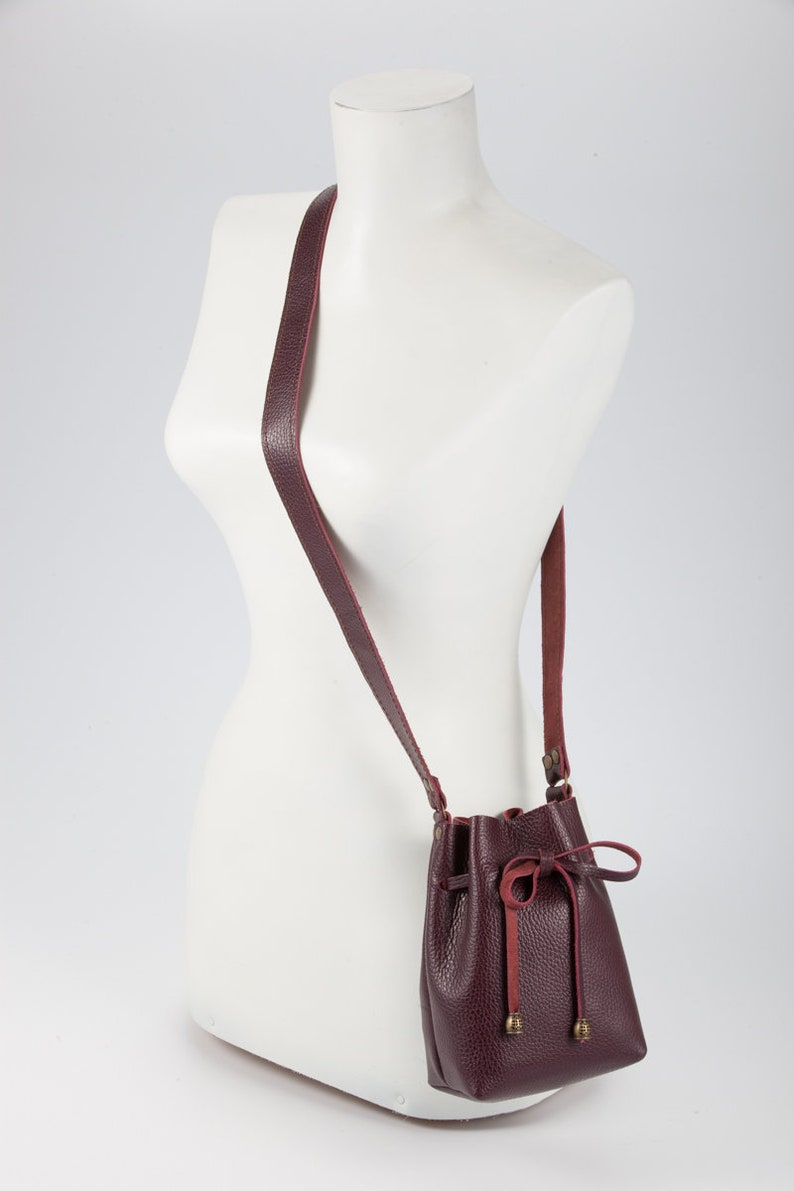 Rustic Natural Leather Bucket Bag with Personalization