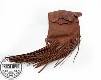 leather Clutch, Fringe bag, Kakishibu color, Boho handbag, Bohemian bag, Gypsy bag, festival bag, Distressed leather, Natural, Bohemian eco