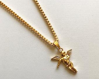 Gold angel necklace etsy handmade gold angel pendant necklace aloadofball Images