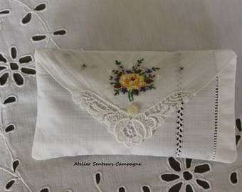 Small pillow only antique linen - organic Lavender
