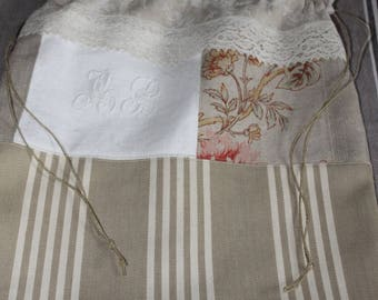 BAG/POUCH in old Textile - Monogram - lace - ticking - linen