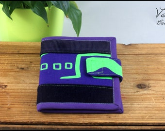 Wallet made of velvet and purple and green