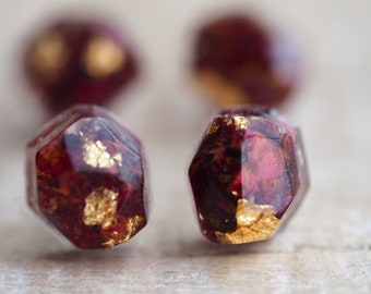 Terrarium studs with rose petals and gold foil - small 5x7mm red studs with dried rose petals - sterling silver ear cups