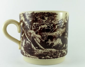 "Coffee cup with hunting ornament made in GDR jagdmotive ""Ridinger"""