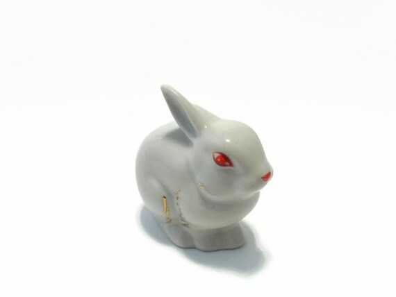 Small Vintage Porcelain Statuette Of Rabbit With Red Eyes Etsy