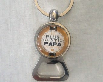"Key ring bottle opener ""sweetest Dad in the world"" glass cabochon"