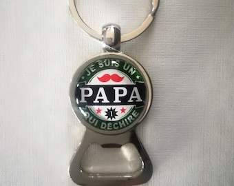 "Key ring bottle opener ""I'm a dad who rocks"" glass cabochon"