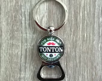 "Key ring bottle opener ""I'm an uncle who rocks"" glass cabochon"