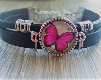 Butterfly cabochon black leather strap
