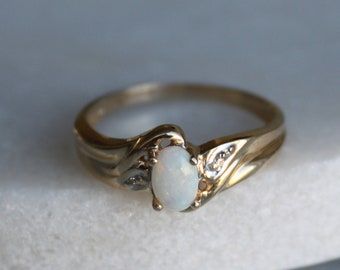 Vintage Opal and Diamond Ring | Engagement Ring | Size 7 | 10k Gold | Genuine Stones | Promise Ring