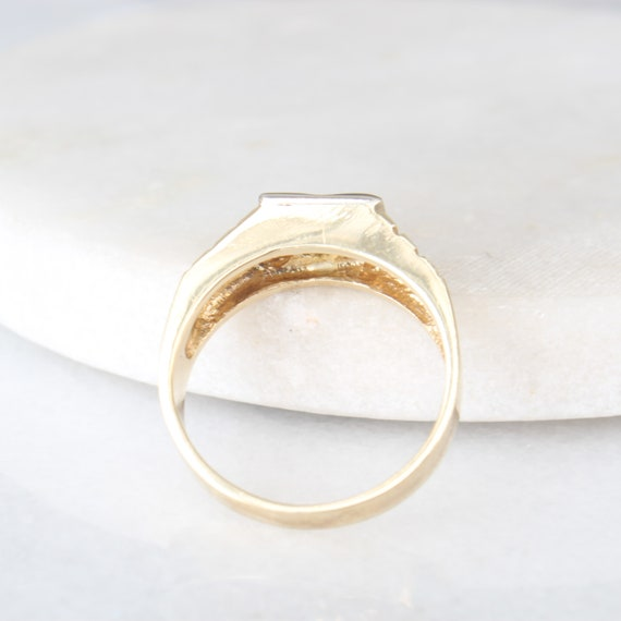 14k Gold Diamond Star Ring   Vintage Two Tone Yel… - image 6