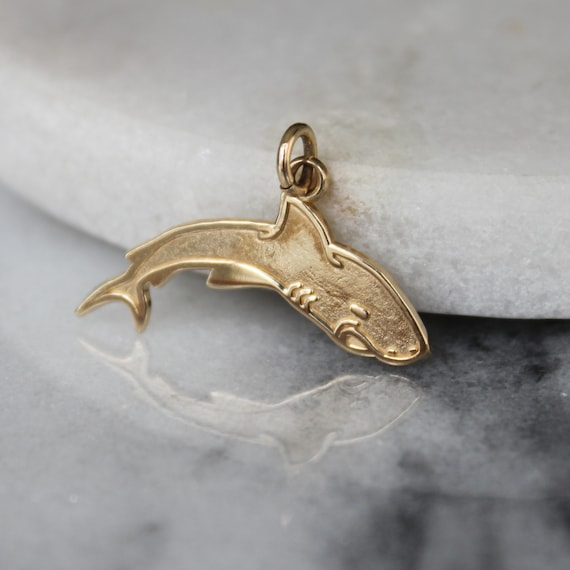 Flat Shark Pendant Charm | 10k Yellow Gold | Shark
