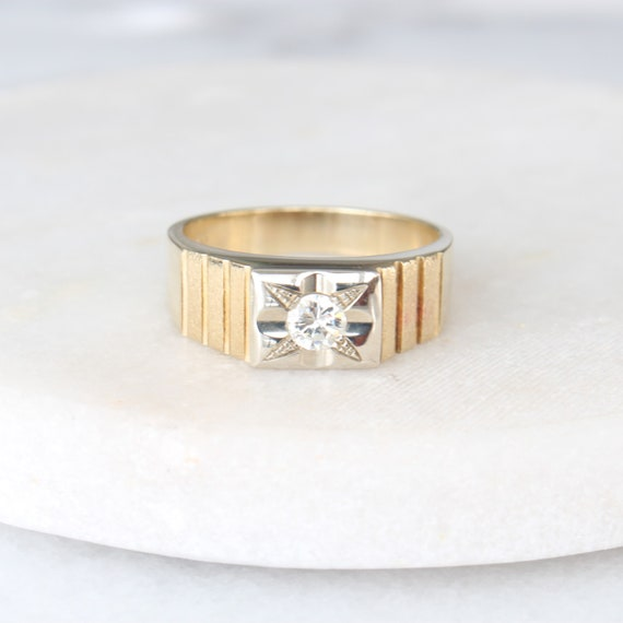 14k Gold Diamond Star Ring   Vintage Two Tone Yel… - image 1