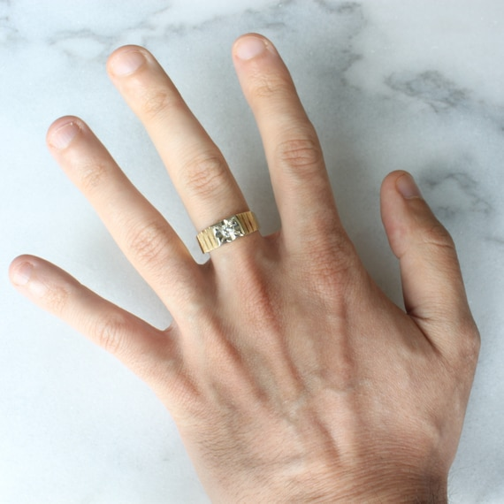 14k Gold Diamond Star Ring   Vintage Two Tone Yel… - image 7