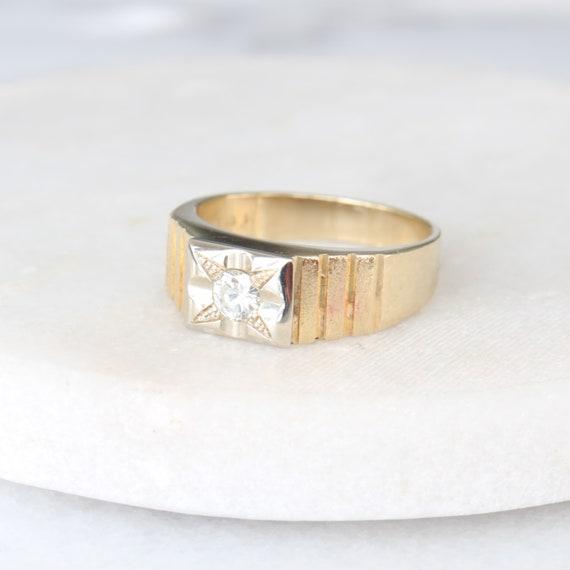 14k Gold Diamond Star Ring   Vintage Two Tone Yel… - image 2