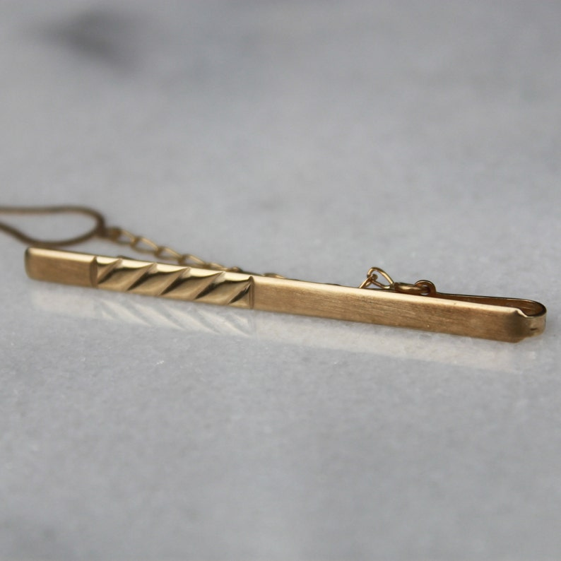 10k Yellow Gold Men/'s Tie Clip Classic Brushed Gold Tie Bar