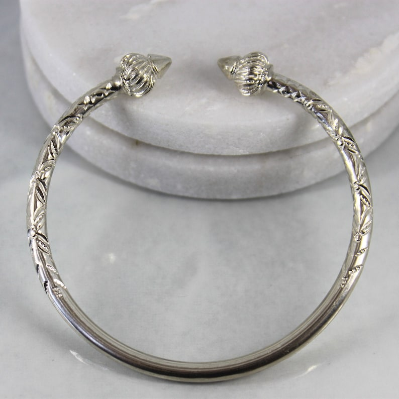 Sterling Silver Thick Etched Cuff Bracelet Bangle