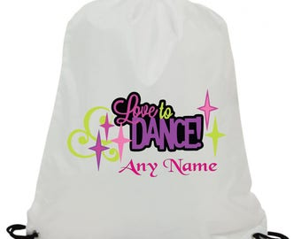 19510146d5d4 Personalised love to dance sublimation swimming pe gym school drawstring bag