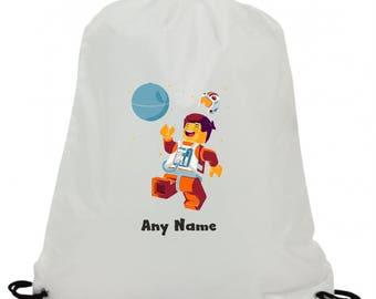 Personalised lego space man sublimation swimming pe gym school drawstring bag